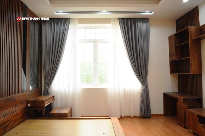 Rèm vải Hàn Quốc 2 lớp đẹp cho phòng ngủ Biệt Thự