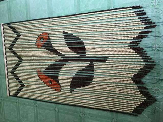 Rèm hạt gỗ Bồ đề treo phong thủy cửa ra vào