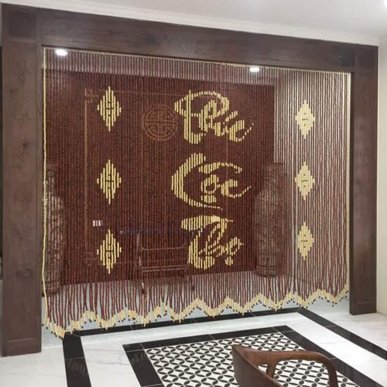 Rèm phong thủy bằng hạt gỗ Hương