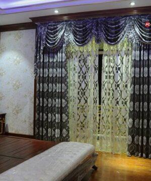 Rèm vải hoa văn RV2012-9 phòng ngủ