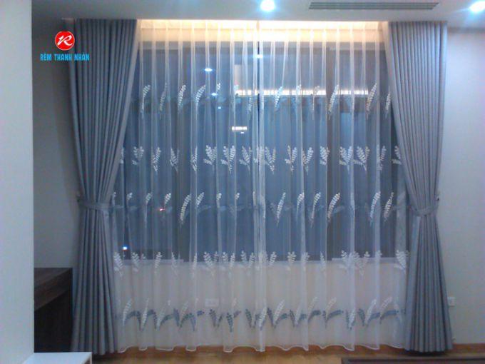 Màn vải phòng ngủ màu ghi