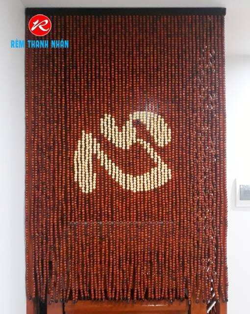 Mành hạt gỗ Hương chữ Tâm Hán