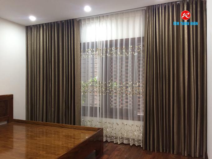 Rèm vải cửa sổ đẹp 2 lớp RV893-17 cản nắng 100% và von RV888-2 phòng Ngủ