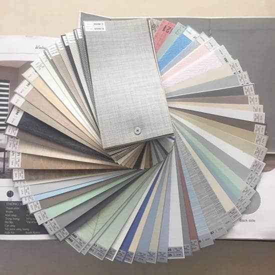 Mẫu mã màu sắc vải rèm cuốn