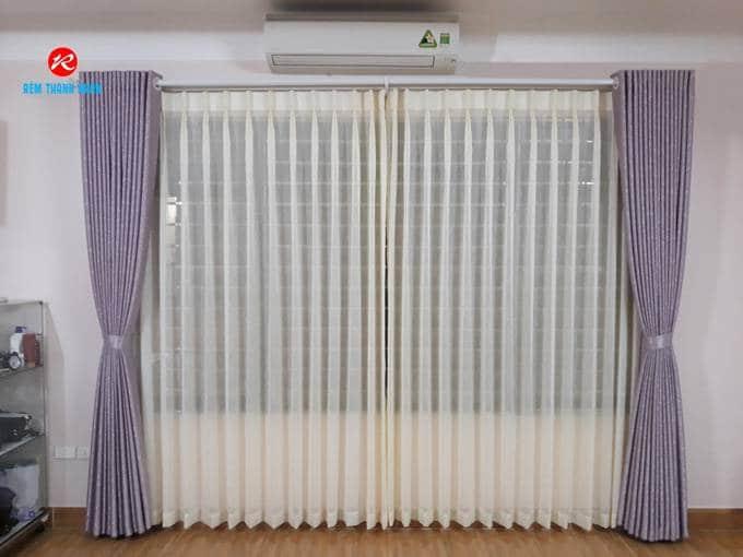Rèm vải lụa 2 lớp phòng khách, phòng ngủ