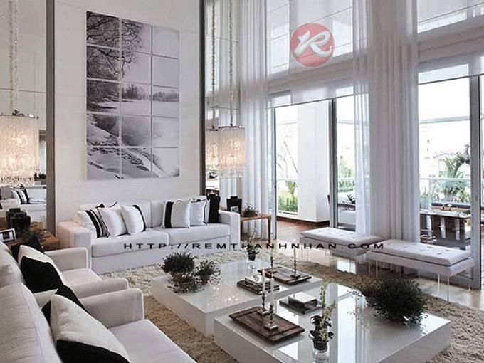 Rèm vải cửa sổ phòng khách màu trắng đẹp