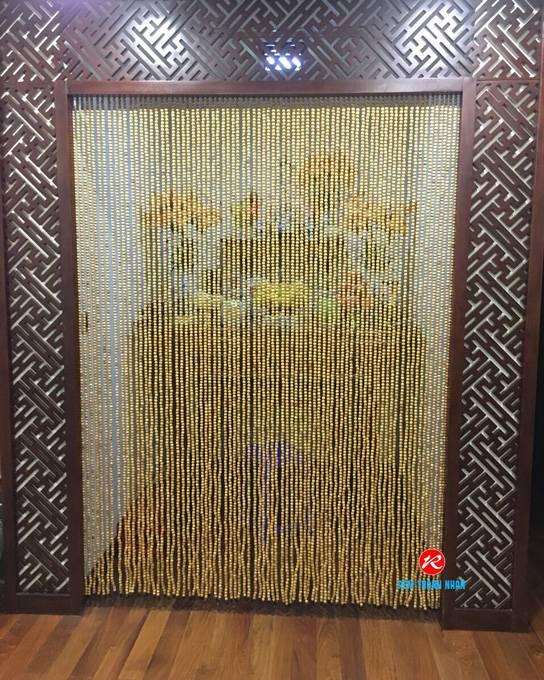 Rèm hạt gỗ Pơ Mu cao cấp phòng thờ