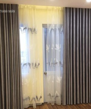 Màn cửa vải hoa văn chìm đẹp