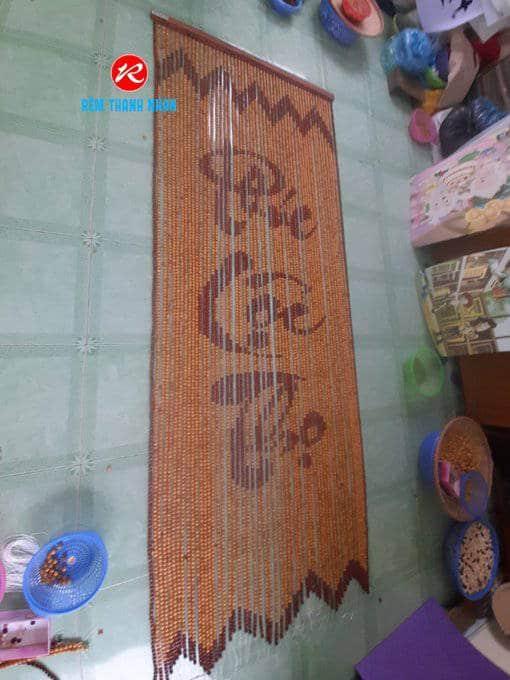 Rèm hạt gỗ Bồ Đề chữ Phúc - Lộc - Thọ